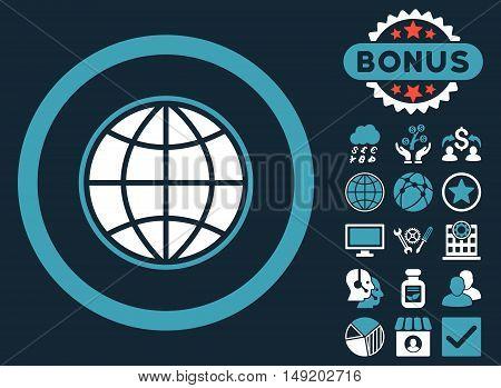 Globe icon with bonus pictogram. Vector illustration style is flat iconic bicolor symbols blue and white colors dark blue background.