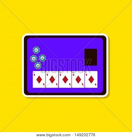 paper sticker on stylish background of poker board card chip