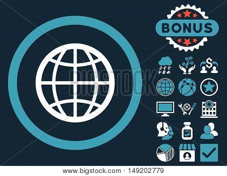 Globe icon with bonus symbols. Vector illustration style is flat iconic bicolor symbols blue and white colors dark blue background.