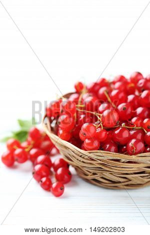 Red Currant On A White Wooden Table