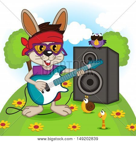 rabbit playing on electric guitar - vector illustration, eps