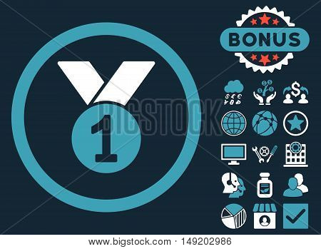 Gold Medal icon with bonus symbols. Vector illustration style is flat iconic bicolor symbols blue and white colors dark blue background.