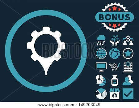 GPS Settings icon with bonus pictogram. Vector illustration style is flat iconic bicolor symbols blue and white colors dark blue background.