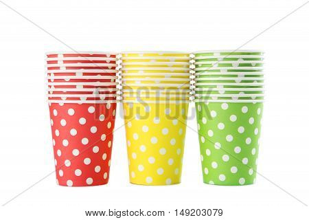 Birthday Paper Cups Isolated On A White