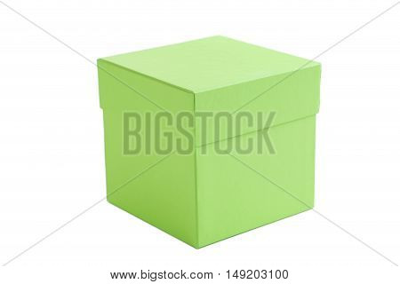 Green box isolated on a white, close up