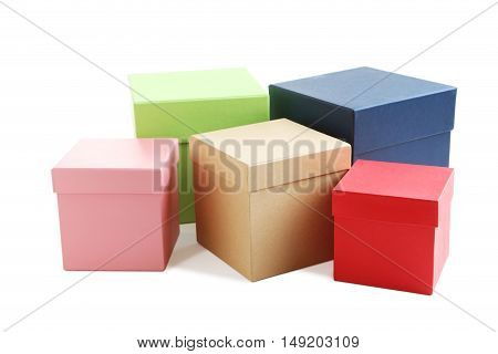 Stacks Of Boxes Isolated On A White