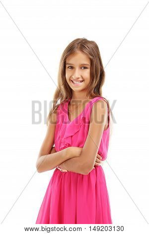 Portrait of young girl isolated on a white