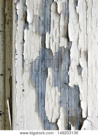 Paint flaking and peeling from an old door