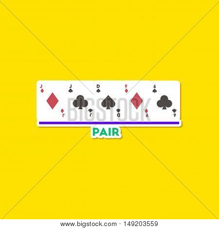 paper sticker on stylish background of poker pair cards