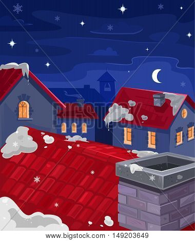Vector illustration of houses at night, view from above