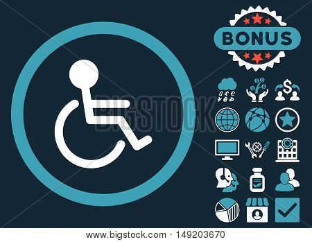 Handicapped icon with bonus images. Vector illustration style is flat iconic bicolor symbols blue and white colors dark blue background.