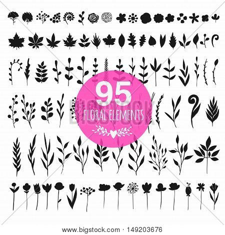 set of different floral elements isolated on white, vector flowers, leaves, ferns and sticks