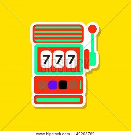 paper sticker on stylish background of slot machine