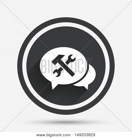 Speech bubble repair tool sign icon. Service symbol. Hammer with wrench. Circle flat button with shadow and border. Vector