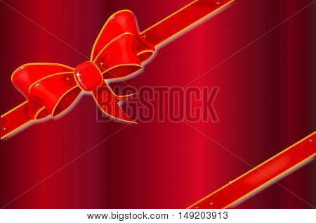 A red card adorned with a silk/satin ribbon with sparkles.