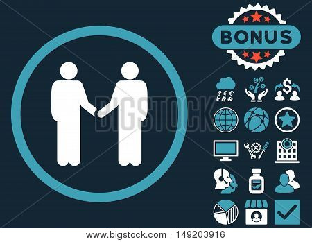 Handshake icon with bonus pictogram. Vector illustration style is flat iconic bicolor symbols blue and white colors dark blue background.
