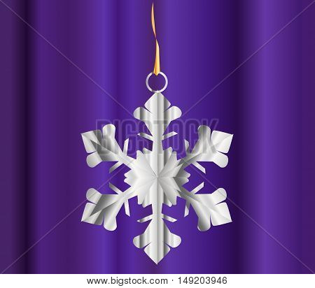 A single snowflake over a dark background