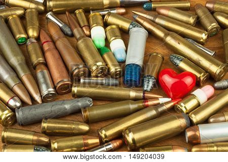 Gun control rights weapon. Different types of ammunition. The right to ownership of guns for defense.