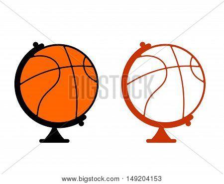 Globe Basketball. World Game. Sports Accessory As Globe. Orange Sphere