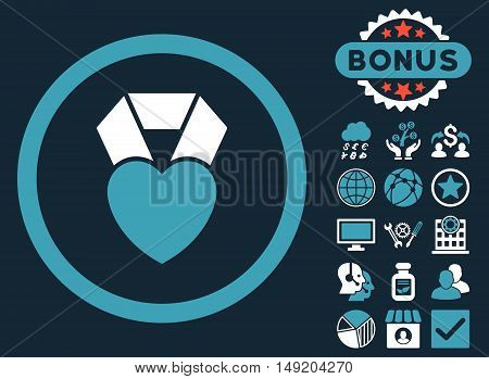 Heart Award icon with bonus pictogram. Vector illustration style is flat iconic bicolor symbols blue and white colors dark blue background.