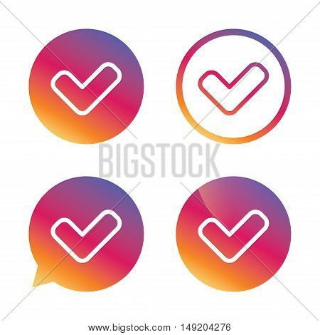 Check sign icon. Yes button. Gradient buttons with flat icon. Speech bubble sign. Vector