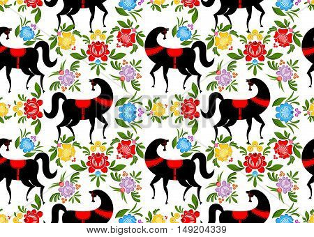 Gorodets Painting Black Horse And Floral Seamless Pattern. Russian National Folk Craft Ornament. Tra