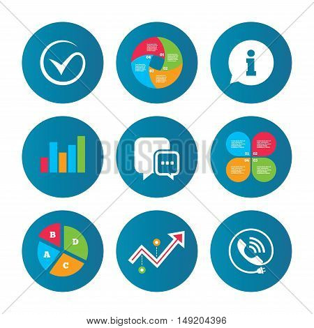 Business pie chart. Growth curve. Presentation buttons. Check or Tick icon. Phone call and Information signs. Support communication chat bubble symbol. Data analysis. Vector