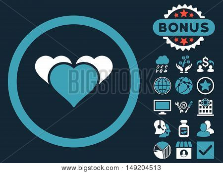 Heart Favourites icon with bonus images. Vector illustration style is flat iconic bicolor symbols blue and white colors dark blue background.