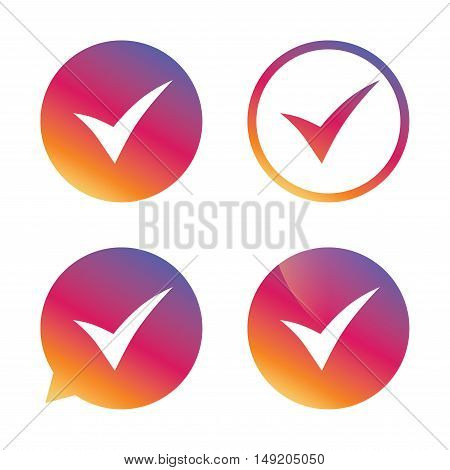 Check sign icon. Yes symbol. Confirm. Gradient buttons with flat icon. Speech bubble sign. Vector
