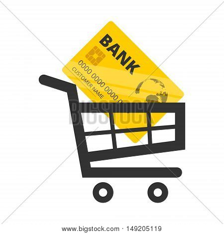 Vector Credit Card Icon, Shopping cart icon