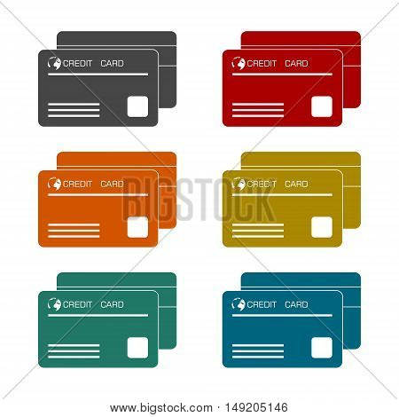 Vector Credit Card Icon set on white background