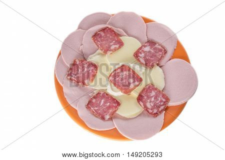 Meat cuttings with mozzarella on orange plate on a light background