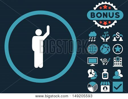 Hitchhike icon with bonus elements. Vector illustration style is flat iconic bicolor symbols blue and white colors dark blue background.