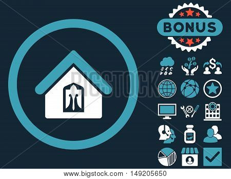 Home icon with bonus pictogram. Vector illustration style is flat iconic bicolor symbols blue and white colors dark blue background.