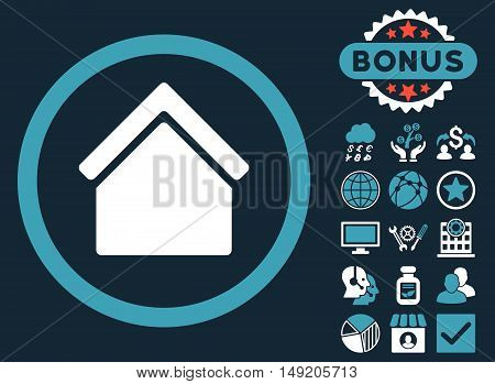 Home icon with bonus elements. Vector illustration style is flat iconic bicolor symbols blue and white colors dark blue background.