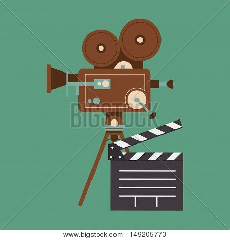 flat design retro film projector and cinema related icons image vector illustration
