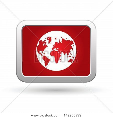 Earth globe icon on the red button. Vector