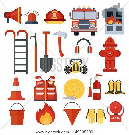 Set of fire equipment. Vector . Flat cartoon illustration. Objects isolated on a white background.