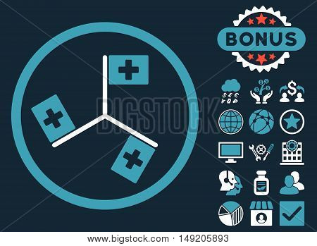 Hospital Flags icon with bonus design elements. Vector illustration style is flat iconic bicolor symbols blue and white colors dark blue background.