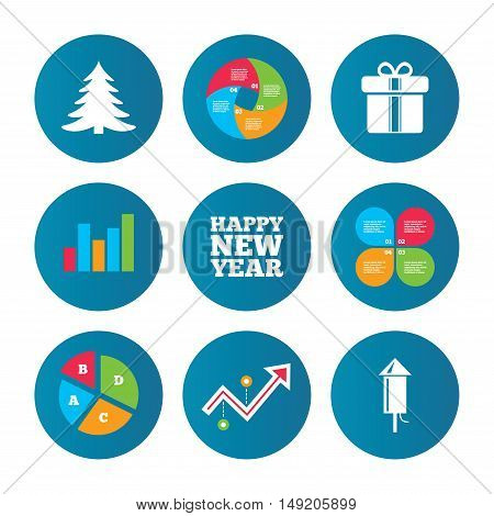Business pie chart. Growth curve. Presentation buttons. Happy new year icon. Christmas tree and gift box signs. Fireworks rocket symbol. Data analysis. Vector