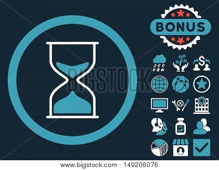 Hourglass icon with bonus pictures. Vector illustration style is flat iconic bicolor symbols blue and white colors dark blue background.