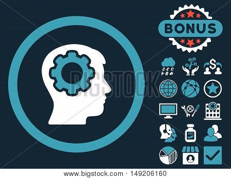 Human Mind icon with bonus design elements. Vector illustration style is flat iconic bicolor symbols blue and white colors dark blue background.