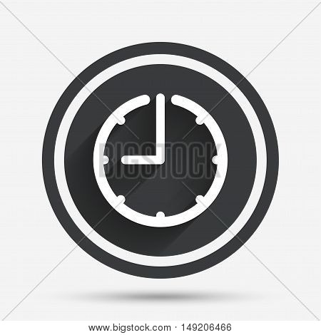 Clock time sign icon. Watch or timer symbol. Circle flat button with shadow and border. Vector