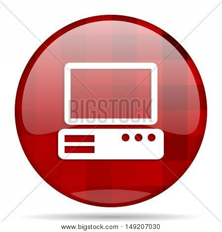 computer red round glossy modern design web icon