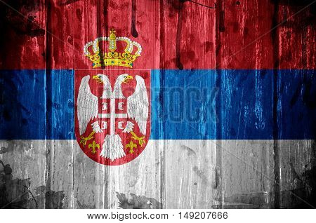 Flag od Serbia overlaid with grunge texture