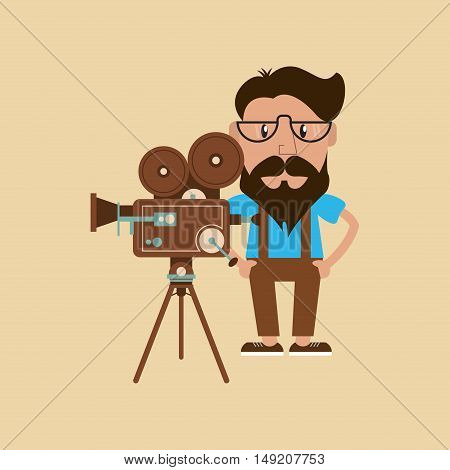 flat design hipster man and  retro film projector  image vector illustration