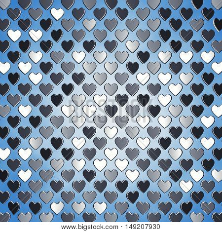 Silver hearts on blue background , Valentine's day , 3d illustration
