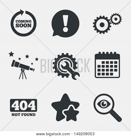 Coming soon rotate arrow icon. Repair service tool and gear symbols. Wrench sign. 404 Not found. Attention, investigate and stars icons. Telescope and calendar signs. Vector