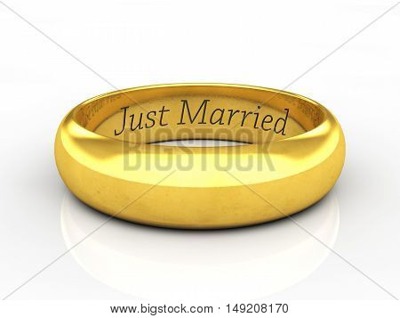 Engraved golden wedding ring on white background with reflection , Wedding , 3d illustration