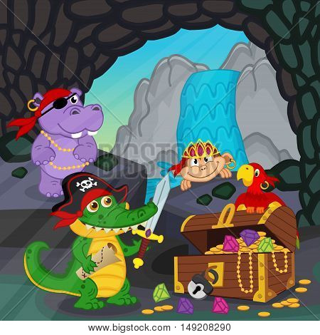 pirates found treasure in a cave - vector illustration, eps